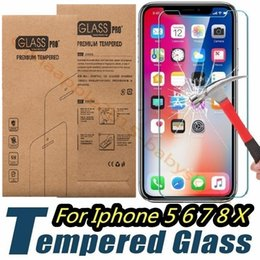 Discount iphone screen protector tempered glass box - Tempered Glass Screen Protector 0.26mm 2.5D Film For iphone 5 6 7 8 Plus X XR XS Max samsung s6 s7 s8 s9 smart phone kraft box