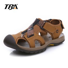 Wholesale Real Injection - TBA Chinese Brand Men Real Cow Leather Sandals Size 38-44 EUR Brown Khaki Colors England Style Fashion Camouflage TBA NO6868