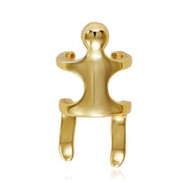 Cooper Clip-on Pendientes para Lady Girl Man Cool Pendientes Ear Cuff Stud Pin Accesorios de la joyería Con el ser humano Forma Estilo Oro Color de plata desde fabricantes