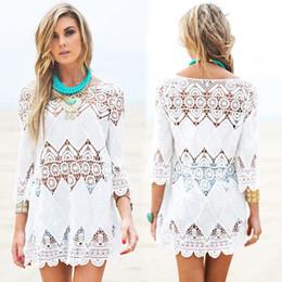 acb0864b31 Tunika Beach Swimsuit Lace Hollow Crochet Bikini Cover Up 3 4 Sleeve Women  Tops Swimwear Beach Dress White Beach Tunic Shirt