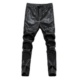 Wholesale Leather Pants 36 - Mens black leather pants mens tights pants faux leather pu sexy motorcycle skinny trousers 28-36 AYG180