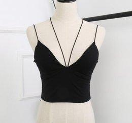Wholesale Basic Crop Tank Top - Cotton Halter Padded Cut Cross Women's Basic Cropped Top Camis Tank Vest