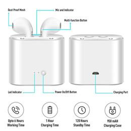 Universal bluetooth kopfhörer preis online-Vollständige Verkaufspreise TWS-i7 Dual-Wireless-Bluetooth-Kopfhörer Earbuds Kopfhörer mit Ladegerät Fall Bluetooth Earbuds für IOS, Android Tabelle