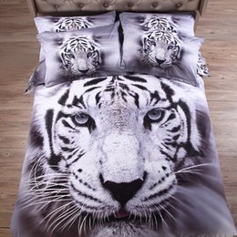 Wholesale Tiger Animal Comforters - gray & white tiger 3d animal bedding sets Cotton sheet pillowcase quilt cover 4pc Linens set