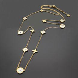 tendência de colar de corrente Desconto Alta qualidade marca quente de aço de titânio camisola cadeia 18 K ouro rosa prata longo colar adequado para o presente das mulheres da moda vêm whit caixa