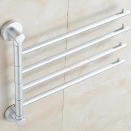 serviettes de toilette orange Promotion Salle de bains murale en aluminium en gros-solide 4 barres pivotantes porte-serviette support de salle de bain accessoires flexibles porte-serviettes