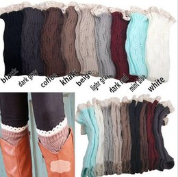 Wholesale Lace Trimmed Socks - Lace Crochet Leg Warmers Knitted Lace Trim Toppers Cuffs Liner Leg Warmers Boot Socks Knee High Trim Boot Legging 300pairs OOA3862