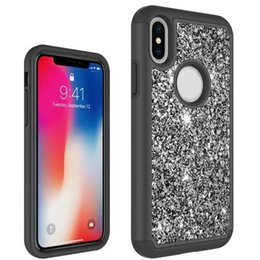 Wholesale Shockproof Cover - Bling Glitter Shinny Shockproof Cell Phone Case Cover For iPhone X LG V3 2018 Stylo 2 3 X Power Samsung S9 Plus A7 A560 Opp