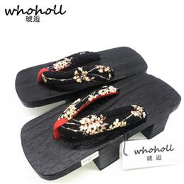 sandales japonaises Promotion Sandales pour femmes, 2017 été japonais geta black toe qualité Paulownia bois femmes tongs double sabot à talons hauts GETA-115