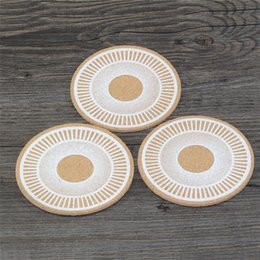 Wholesale wood drink coasters - 500pcs Classic Round Plain Cork Coasters Drink Table Mats Cork Mats Drink Wine Mat ideas for wedding and party gift IB726