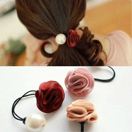 Wholesale Ties Head For Girls - Korea hair ring for women girl fashion flower rose Pearl hair tie head ornaments band accessory