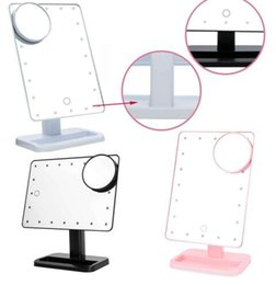 Wholesale Lighted Magnified Makeup Mirrors - Makeup Mirror 20 LED Light Touch Screen Light Make Up Cosmetic Tool Magnifier Makeup Mirror Portable Tabletop Countertop Magnifying KKA4094