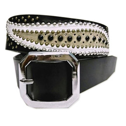 Wholesale wide film - bollywood famous films star Khan Genuine leather white leaves black stone lucky retro brass studded punk cowhide men belt