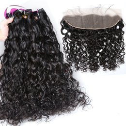 Wholesale Water Wave Hair Bundles - xblhair mink brazilian hair 3 bundles water wave human hair bundles and one 13by4 lace frontal closure