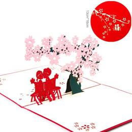 Origami hochzeit pop-up-karten online-10 teile / los Laser Cut Hochzeitseinladungen Koreanische Kirsche Fantasie 3D Pop UP Karte Handgemachte KirigamiOrigami Valentinstag Geschenk