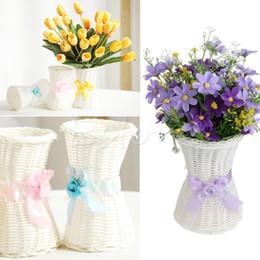 1Pc Vaso di fiori artificiali in vimini con fiori e cesto portaoggetti da giardino da