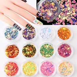 Wholesale Sequins Nail Polish - 2017 Nail jewelry new colorful drops sequins 12-color Symphony laser stickers Japanese nail polish glue decorations