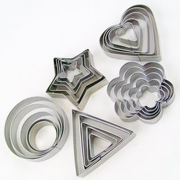 Wholesale Mold Cutting Cookie - 5pcs set Heart Star Flower Round Triangle Biscuit Metal Cake Mold Cake Baking Mould Pastry Oven DIY Mould Bakeware Tools fruit cutting