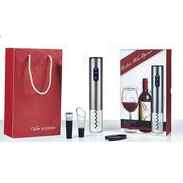 Conjuntos abridor de vinho on-line-Abridor de garrafa de vinho tinto elétrico conjunto de quatro peças rolha de vácuo abridor de garrafa elétrica derramar vinho papel cortador (baterias não incluídas)