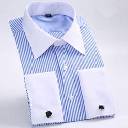 Mancuerna camisa delgada online-Camisa de gemelos franceses para hombre 2018 Camisa de esmoquin elegante slim fit Camisa de vestir para hombres formal de rayas comerciales (gemelos incluidos)