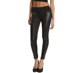 Wholesale Leggings Zip - FEITONG Women PU Leather Look Panel Leggings Jeggings Zip Stretch Black High Waist Legging