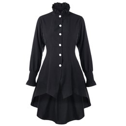 Wholesale Trench Coat Collar Up - ZAFUL Women Coats Gothic Winter Trench Coat For Women Fashion Casual Ruffle Collar Lace Up Dip Hem Coats Outerwear