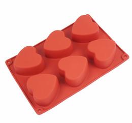 Wholesale Hearts Soap Mold - Wholesale- Silicone cake mold 6 lattices heart shaped handmade soap mold chocolate molds