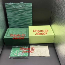 Wholesale green gift cards - New Style Brand Green Watch Original Wood Box Papers Gift Watches Boxes Leather bag Card For Rolex Box 116660 116600 Watch Box.