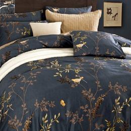 Wholesale Bird Bedding Sets - Luxurious Egyptian Cotton Bedding Sets Flower Bird Pattern Duvet Cover Set Bed Sheet Pillowsham 4pcs Pastoral Tribute Silk