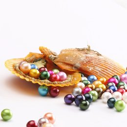 Wholesale Great Love - wholesale 25 colors round akoya single pearls oysters, AAAA 6-8mm, individually wrapped, great party gift red shell mussel! free shipping
