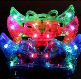 Habiller des lunettes jouets en Ligne-Papillon LED Clignotant Lunettes Allumer Rave Jouets Pour Halloween Mascarade Masque Dress Up Décoration De Fête De Noël Fournitures