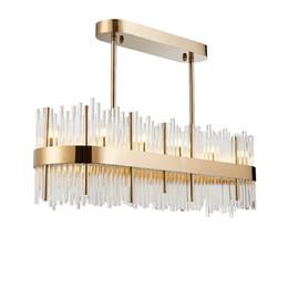 Luce moderna ciondolo rettangolare in cristallo online-Moderno rettangolare grande K9 lampadario di cristallo di illuminazione per sala da pranzo Ristorante Bar Post Modern Hanging lampada a sospensione 110cm