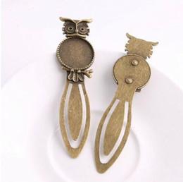 20 pezzi / lotto bronzo antico cammeo segnalibri in acciaio gufo impostazioni cabochon rotondi gioielli charms vuoto 28x83mm da