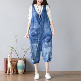 a0dd42cf0037 denim jean jumpsuit women 2019 - Mori Girl Print Sleeveless Vaqueros Mujer Overalls  Denim Hiphop Loose