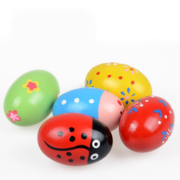 Wholesale Drum Gifts - Cute Wooden Egg Maracas Toy Many Styles Cartoon Maraca Toys For Kids Children Gifts 1 8cw C R