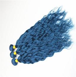 девственная океанская волна Скидка Ocean Blue Наращивание волос Мокрые и волнистые волосы Наращивание голубых человеческих волос Water Wave Virgin European 3 Расслоения