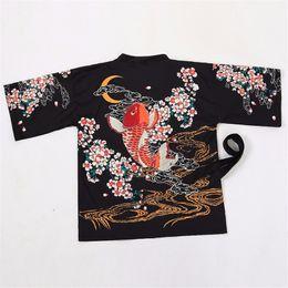 Argentina harajuku kawaii retro carpas de verano luna flores imprimir sol suelta protección kimono cardigan camisa de sol mujeres prendas de vestir exteriores de la novedad cheap kimono outerwear Suministro