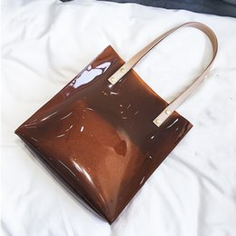 Wholesale Small Pvc Shopping Bags - Fashion Bag 2018 Summer Beach Clear PVC Bags for Women Transparent Jelly Tote Bags Handbags Female Casual Travel Shopping Shoulder Hand Bag