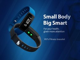 Wholesale Blood Pressure Android - V07 Bluetooth Smart Wristbands Blood Pressure Heart Rate Monitor Fitness Tracker Smartband Waterproof IP67 Smart Bracelet VS TW64