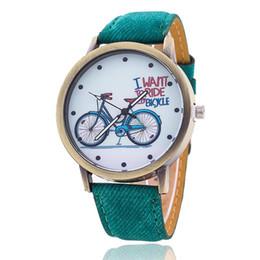 Wholesale Modern Jeans For Women - Hot Vintage Jeans Strap Watch For Women Leather Bike Watch Fashion Casual Ladies Wrist Watch Relogio Feminino Drop Shipping 889