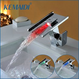 Wholesale Changing Basin Taps - KEMAIDI Waterfall Faucets,Mixers & Taps Water Power LED Basin Mixer Chrome Single Handle Faucet 3 Colors Change LED Tap JN6118
