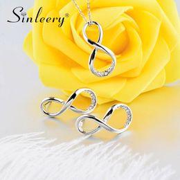 Бесконечность друзья украшения онлайн-SINLEERY Simple Silver Color Rhinestone Infinity Necklace Earrings Jewelry Set For Women Girl Best Friends Gifts Tz123 SSI