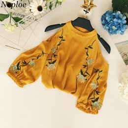 Wholesale Flower Blouse Puff Sleeves - Neploe Flower Embroidery Women Chiffon Blouse Spring New Fashion Sexy Off Shoulder Shirts Three Quarter Puff Sleeve Blusas 67027