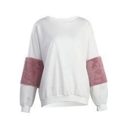 Wholesale Winter White Plush Coat - Hot Fashion Autumn Winter Women Girls Casual Clothes Plush White Shirts Loose Hoodie Velvet Pullover Long Sleeve Coat Sweatshirt