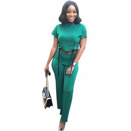 0a2da6943fe4 2XL new arrival Sexy Two Piece Women Clothes Short Sleeve Crop Top And High  Wiast Pant Lace Up Green 2 Piece Jumpsuits