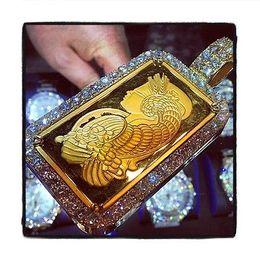 Wholesale 24k Rose Gold Chain - Mens Diamond 24k Yellow Gold Round Cut G Color Pendant 17.88ct