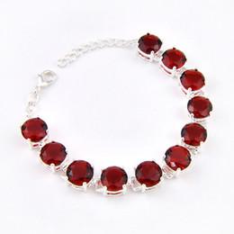 Deutschland Kostenloser Versand - Vintage Round Shaped Red Garnet sinnvolle Mode Mädchen Silber Kette Armband Schmuck B0909 cheap silver garnet bracelet Versorgung