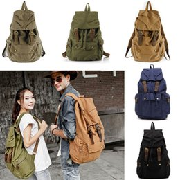Wholesale Canvas Bagpack - Fashion Vintage Leather Military Canvas Backpack Men'S School Bag Drawstring Backpack Women 2018 Bagpack Male Rucksack G161S