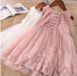 Wholesale Tulle Crochet - Kids lace crochet vest dress summer new lace gauze embroidery for girls princess dress children lace tulle tutu dress pink white Y0136