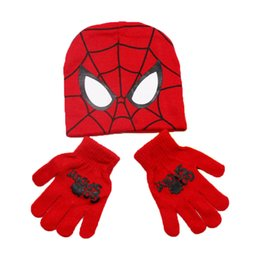 Wholesale Kids Hats Gloves - Unisex Child Spider-Man Beanies Hat+Gloves 2 Pieces Set Kid Cartoon Design Knit Cap Glove Winter Warm Set Baby Boy Girl Hat E906